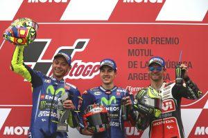 Rossi, Viñales och Crutchlow på prispallen i Argentina.